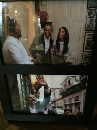 The Obama's during their visit to San Cristobal